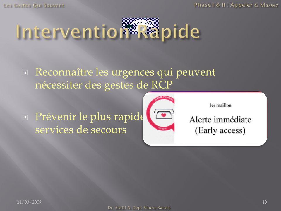 Reconnaître les urgences qui peuvent nécessiter des gestes de RCP Prévenir le plus rapidement possible les services de secours 24/03/200910