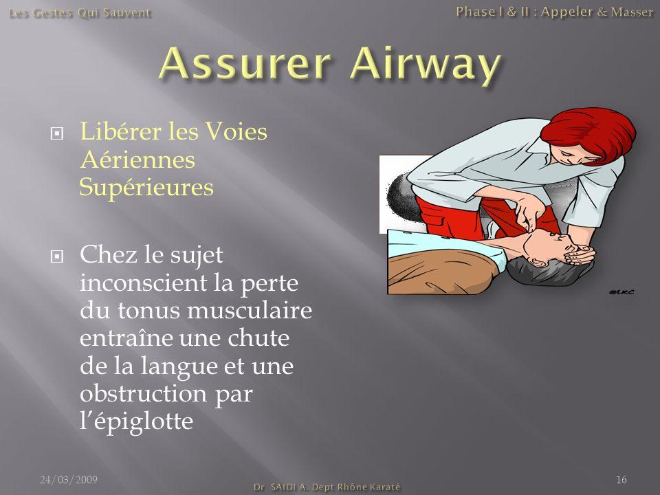 Libérer les Voies Aériennes Supérieures Chez le sujet inconscient la perte du tonus musculaire entraîne une chute de la langue et une obstruction par