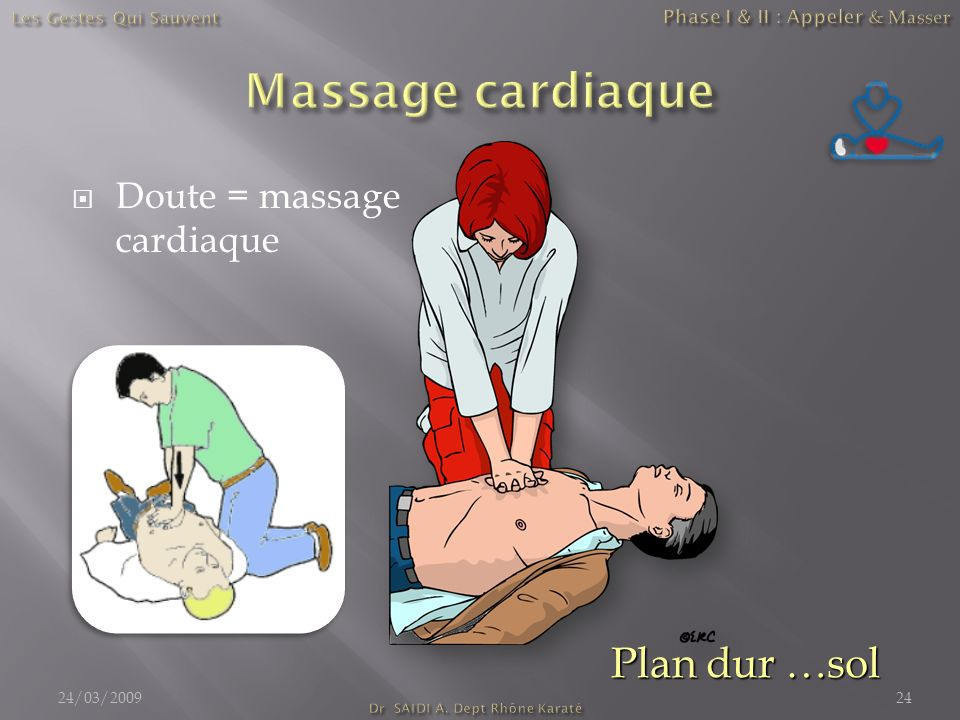 Doute = massage cardiaque 24/03/200924 Plan dur …sol