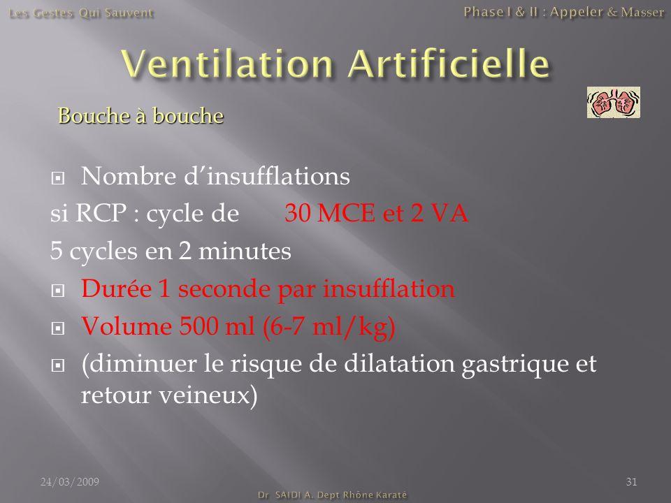 Nombre dinsufflations si RCP : cycle de 30 MCE et 2 VA 5 cycles en 2 minutes Durée 1 seconde par insufflation Volume 500 ml (6-7 ml/kg) (diminuer le r