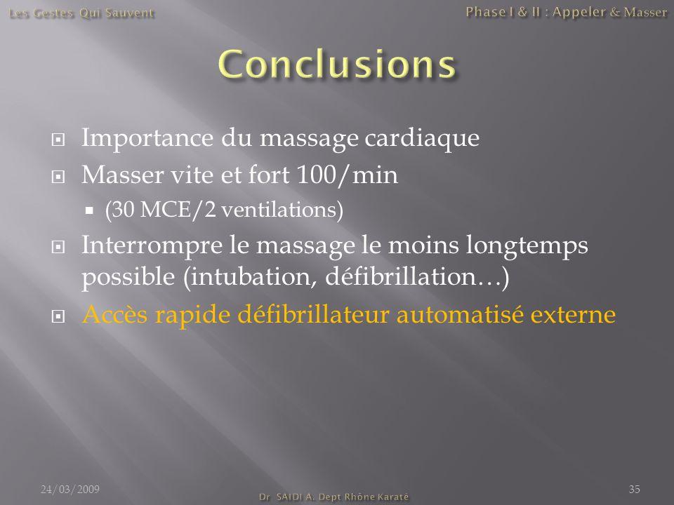 Importance du massage cardiaque Masser vite et fort 100/min (30 MCE/2 ventilations) Interrompre le massage le moins longtemps possible (intubation, dé