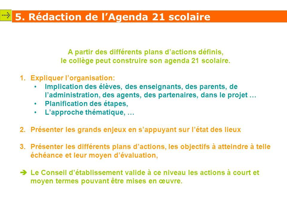 A partir des différents plans dactions définis, le collège peut construire son agenda 21 scolaire.