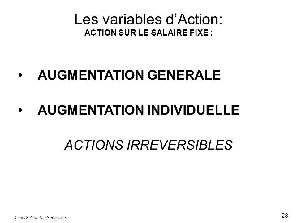 Cours G.Zara- Droits Réservés 28 AUGMENTATION GENERALE AUGMENTATION INDIVIDUELLE ACTIONS IRREVERSIBLES Les variables dAction: ACTION SUR LE SALAIRE FI