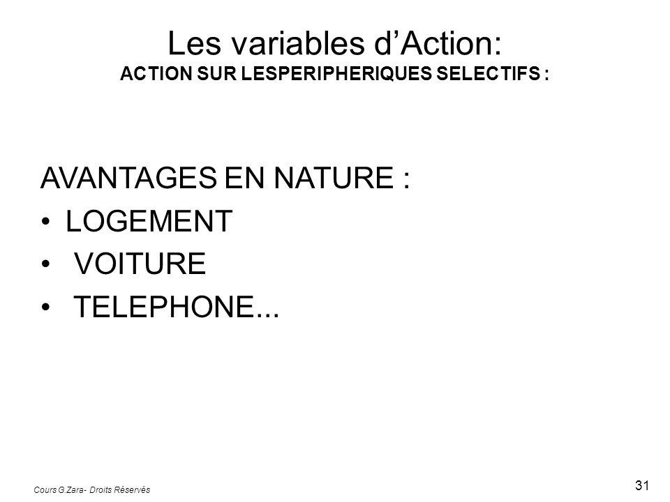 Cours G.Zara- Droits Réservés 31 AVANTAGES EN NATURE : LOGEMENT VOITURE TELEPHONE... Les variables dAction: ACTION SUR LESPERIPHERIQUES SELECTIFS :