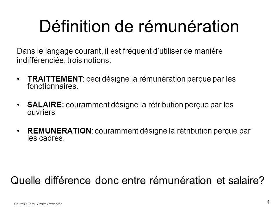 Cours G.Zara- Droits Réservés 4 Définition de rémunération Dans le langage courant, il est fréquent dutiliser de manière indifférenciée, trois notions