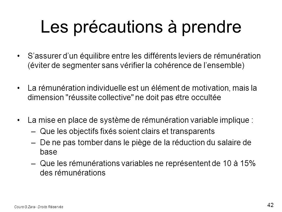 Cours G.Zara- Droits Réservés 42 Les précautions à prendre Sassurer dun équilibre entre les différents leviers de rémunération (éviter de segment