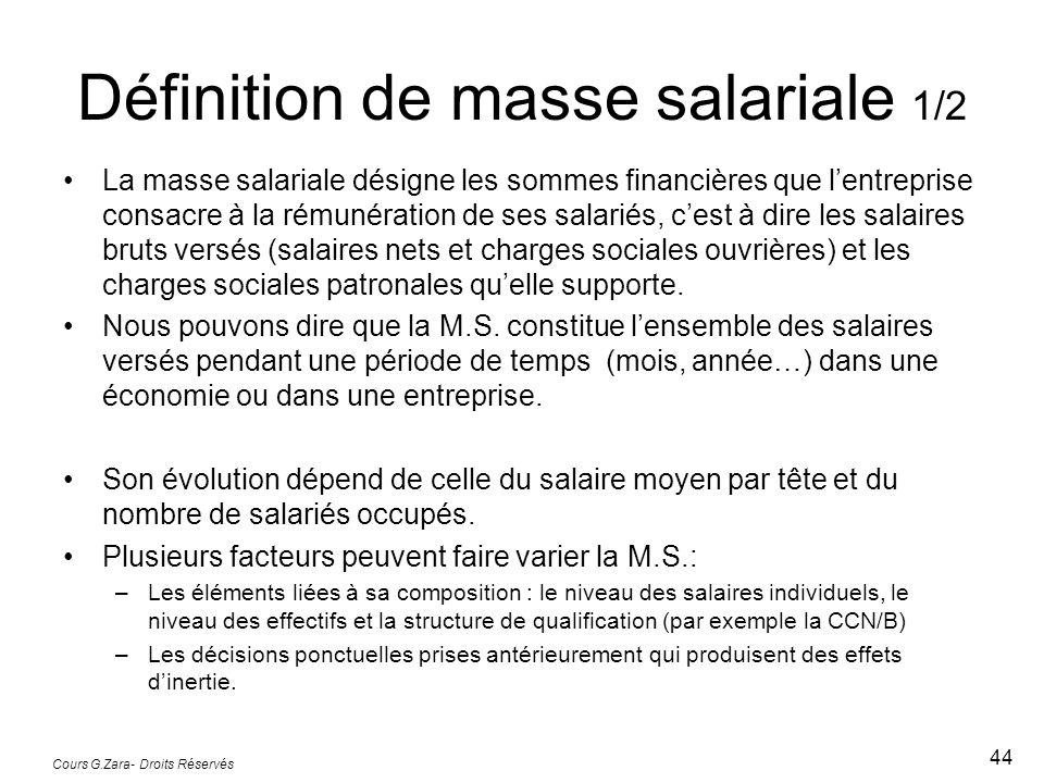Définition de masse salariale 1/2 La masse salariale désigne les sommes financières que lentreprise consacre à la rémunération de ses salariés, cest à