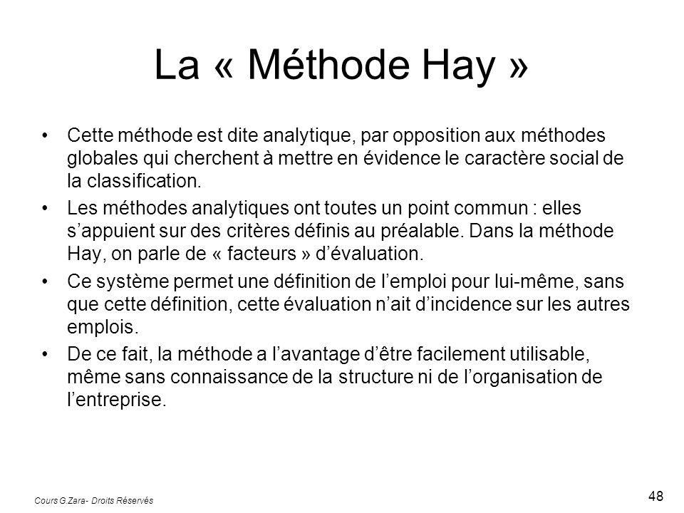 La « Méthode Hay » Cette méthode est dite analytique, par opposition aux méthodes globales qui cherchent à mettre en évidence le caractère social de l