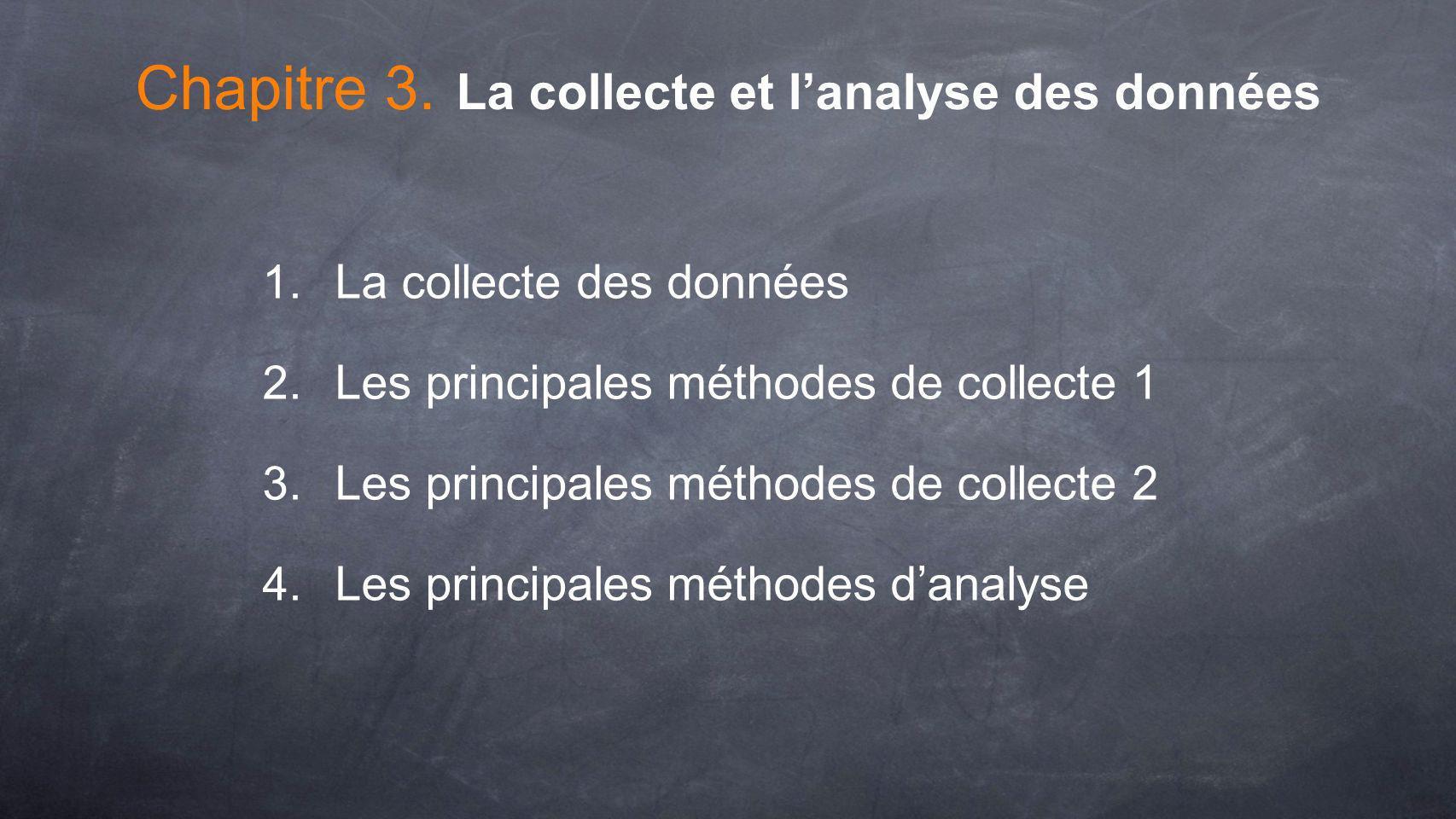 1. La collecte des données 2. Les principales méthodes de collecte 1 3. Les principales méthodes de collecte 2 4. Les principales méthodes danalyse Ch