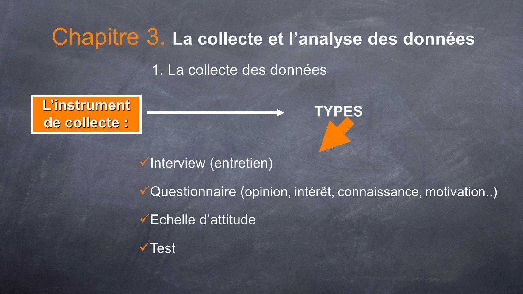 Interview (entretien) Questionnaire ( opinion, intérêt, connaissance, motivation..) Echelle dattitude Test TYPES Linstrument de collecte : Chapitre 3.