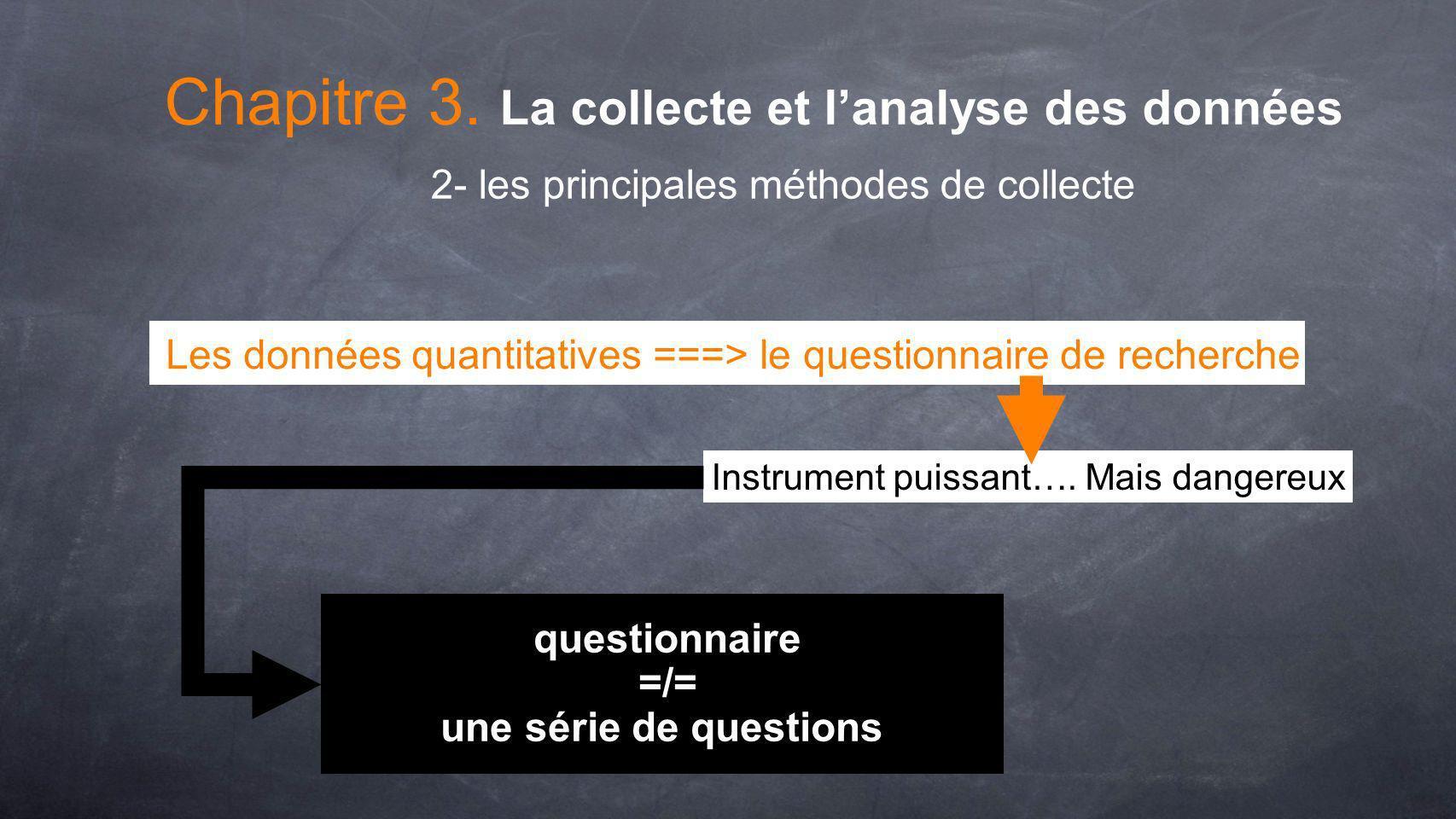 Les données quantitatives ===> le questionnaire de recherche questionnaire =/= une série de questions 2- les principales méthodes de collecte Chapitre