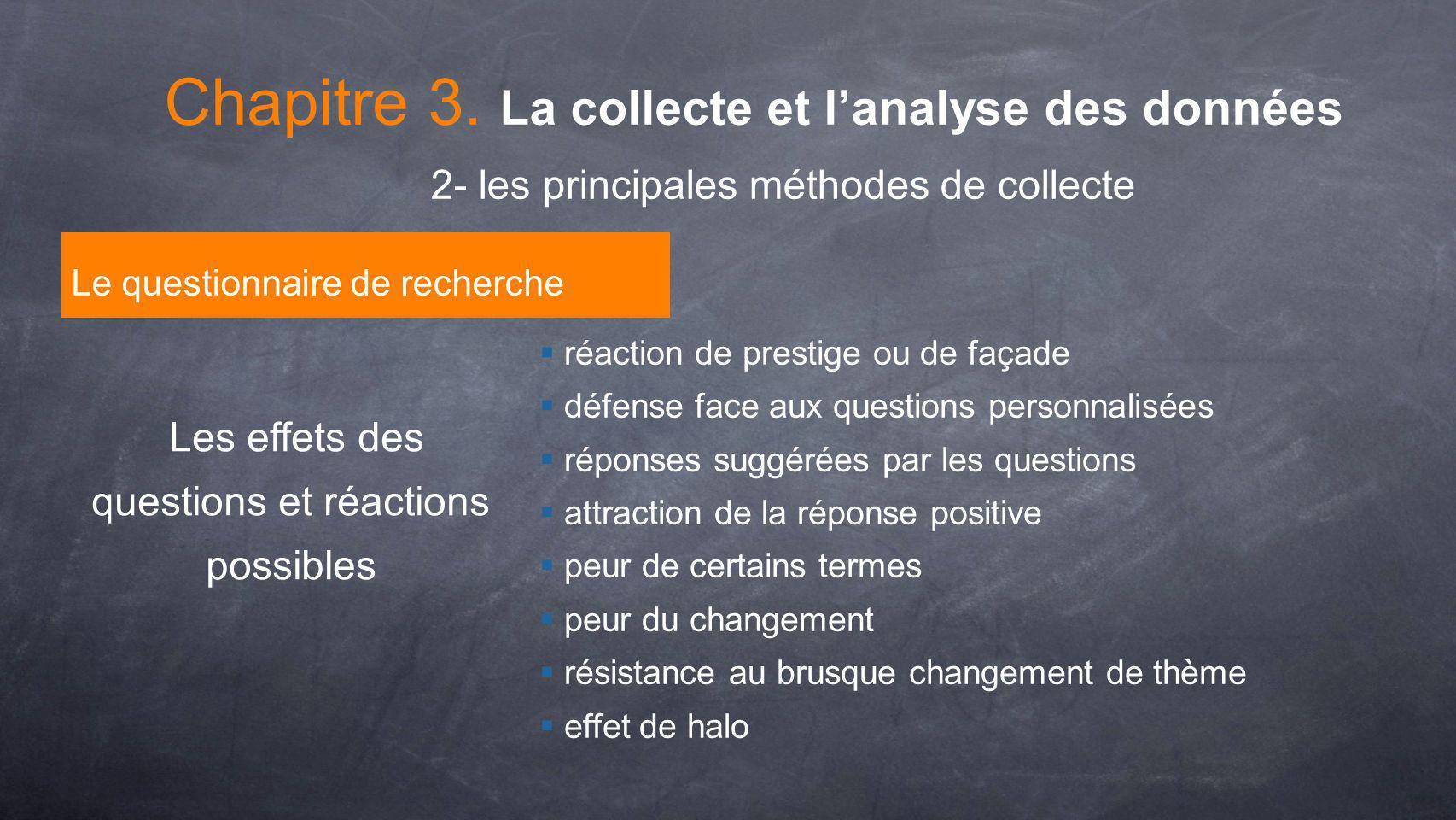 Les effets des questions et réactions possibles réaction de prestige ou de façade défense face aux questions personnalisées réponses suggérées par les