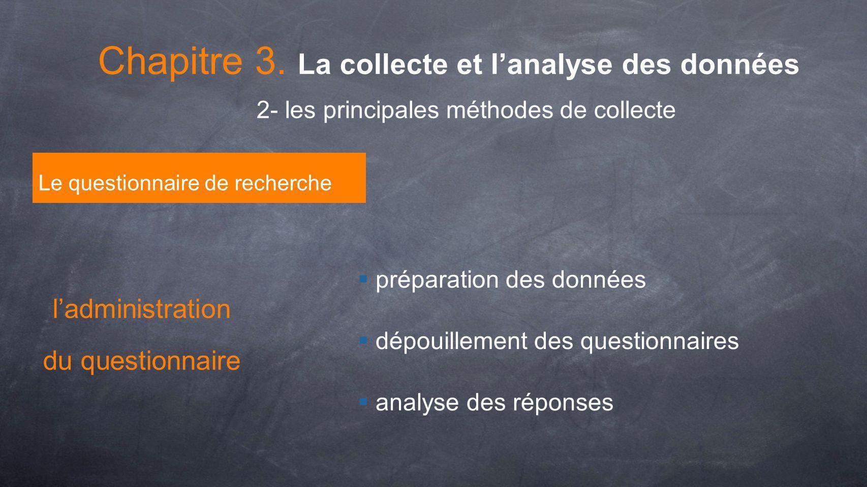 préparation des données dépouillement des questionnaires analyse des réponses Le questionnaire de recherche 2- les principales méthodes de collecte Ch