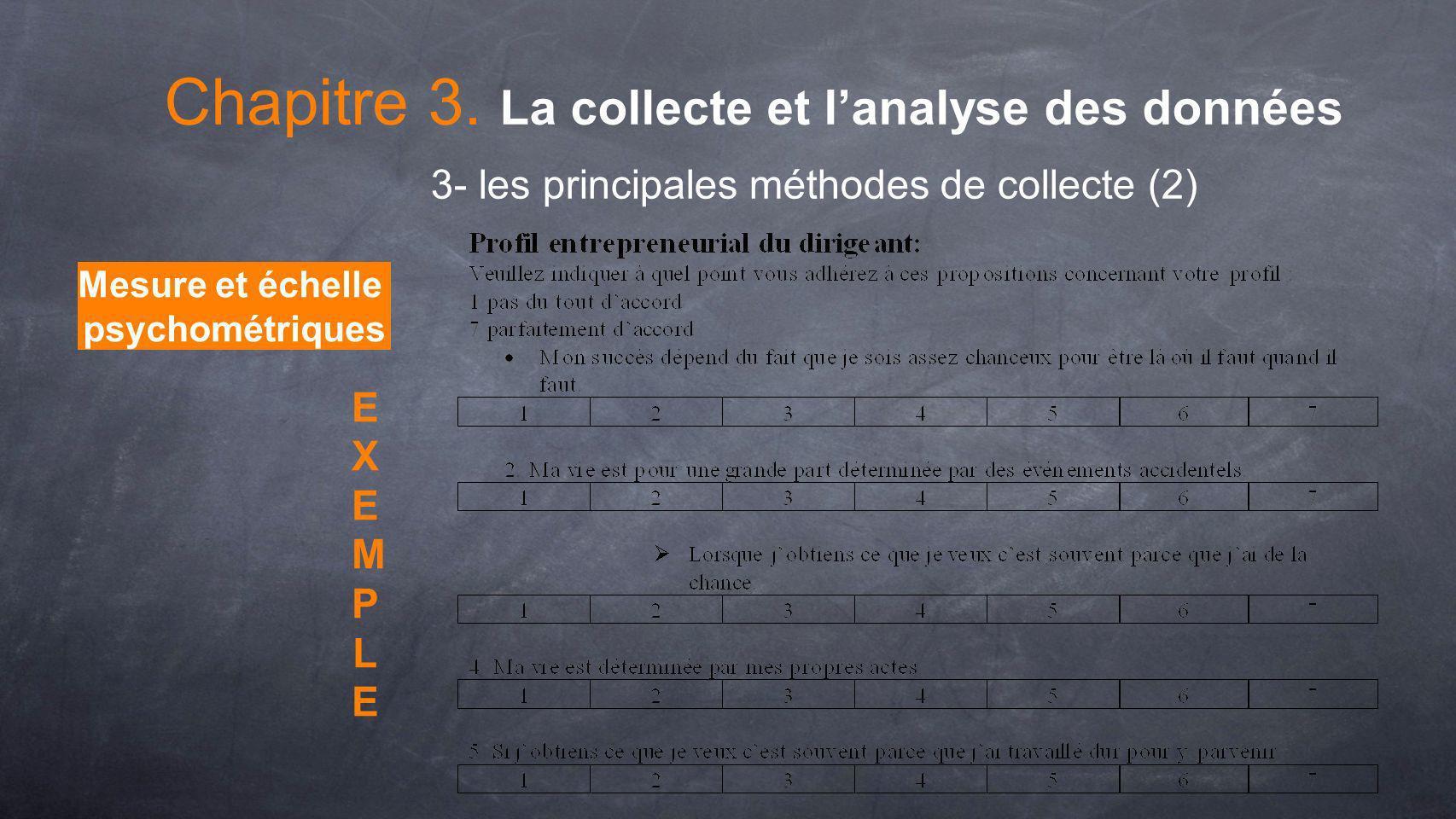 Mesure et échelle psychométriques EXEMPLEEXEMPLE 3- les principales méthodes de collecte (2) Chapitre 3. La collecte et lanalyse des données