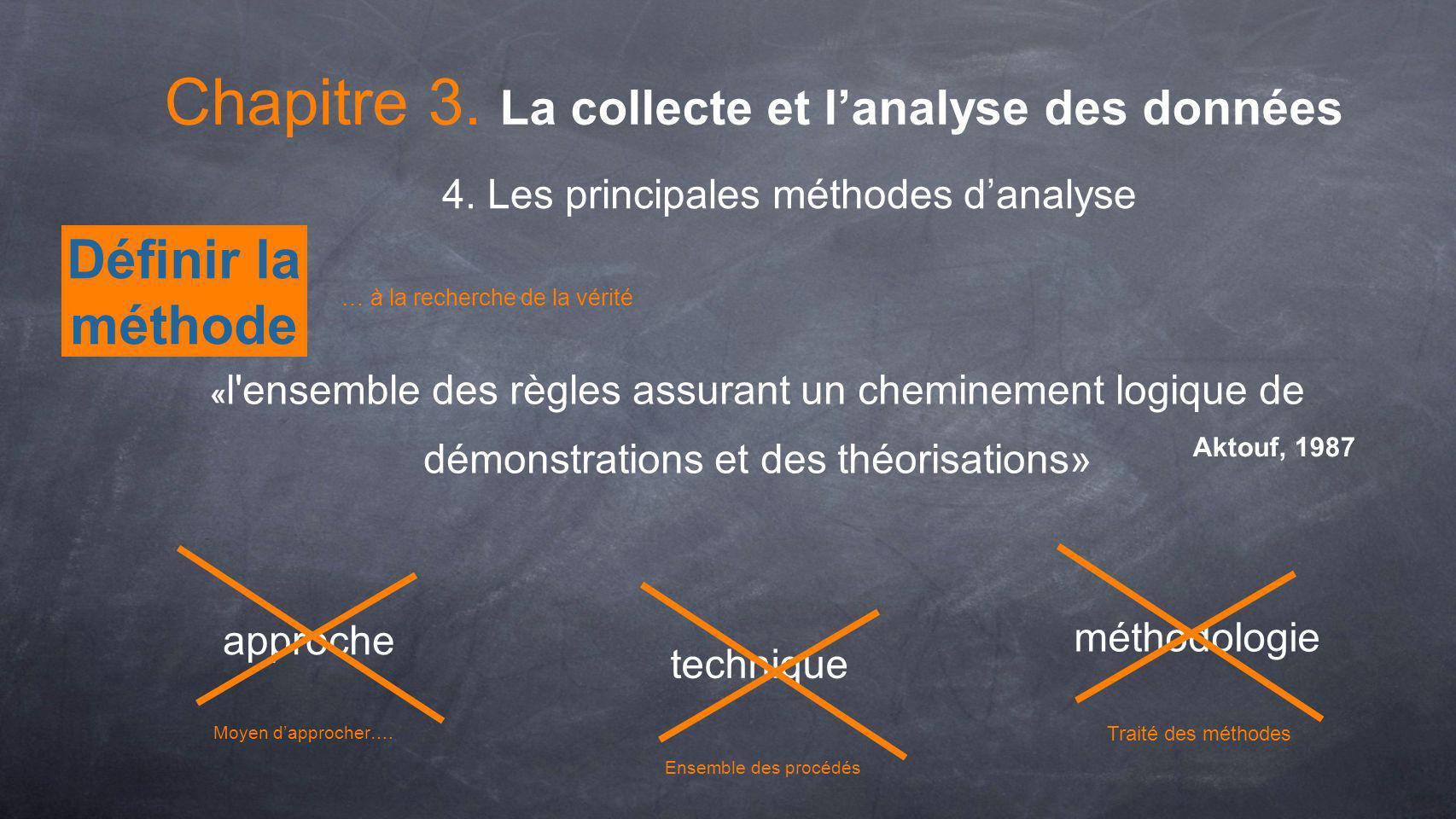 Définir la méthode « l'ensemble des règles assurant un cheminement logique de démonstrations et des théorisations» Aktouf, 1987 approche technique mét