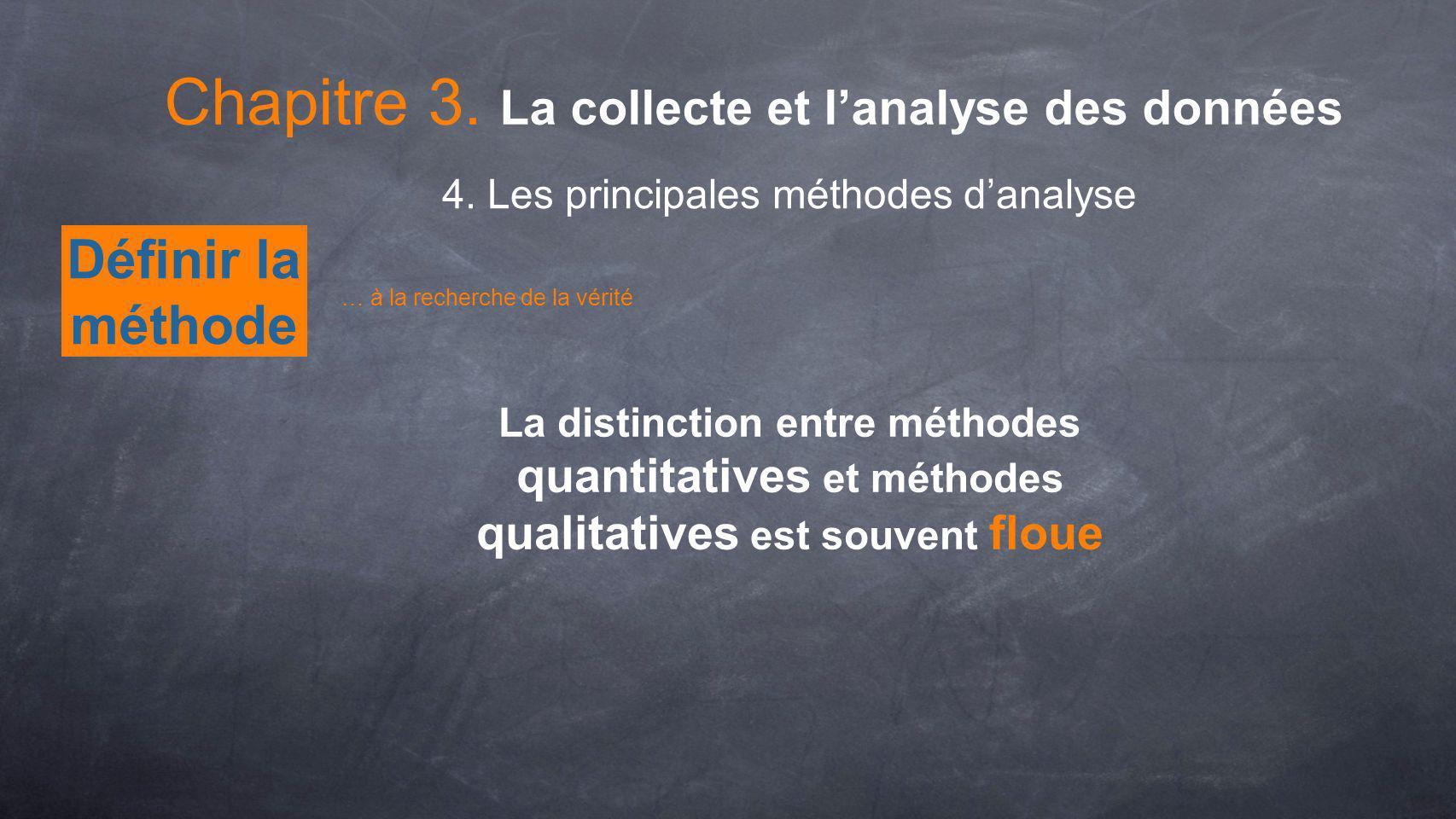 Définir la méthode Chapitre 3. La collecte et lanalyse des données 4. Les principales méthodes danalyse … à la recherche de la vérité La distinction e
