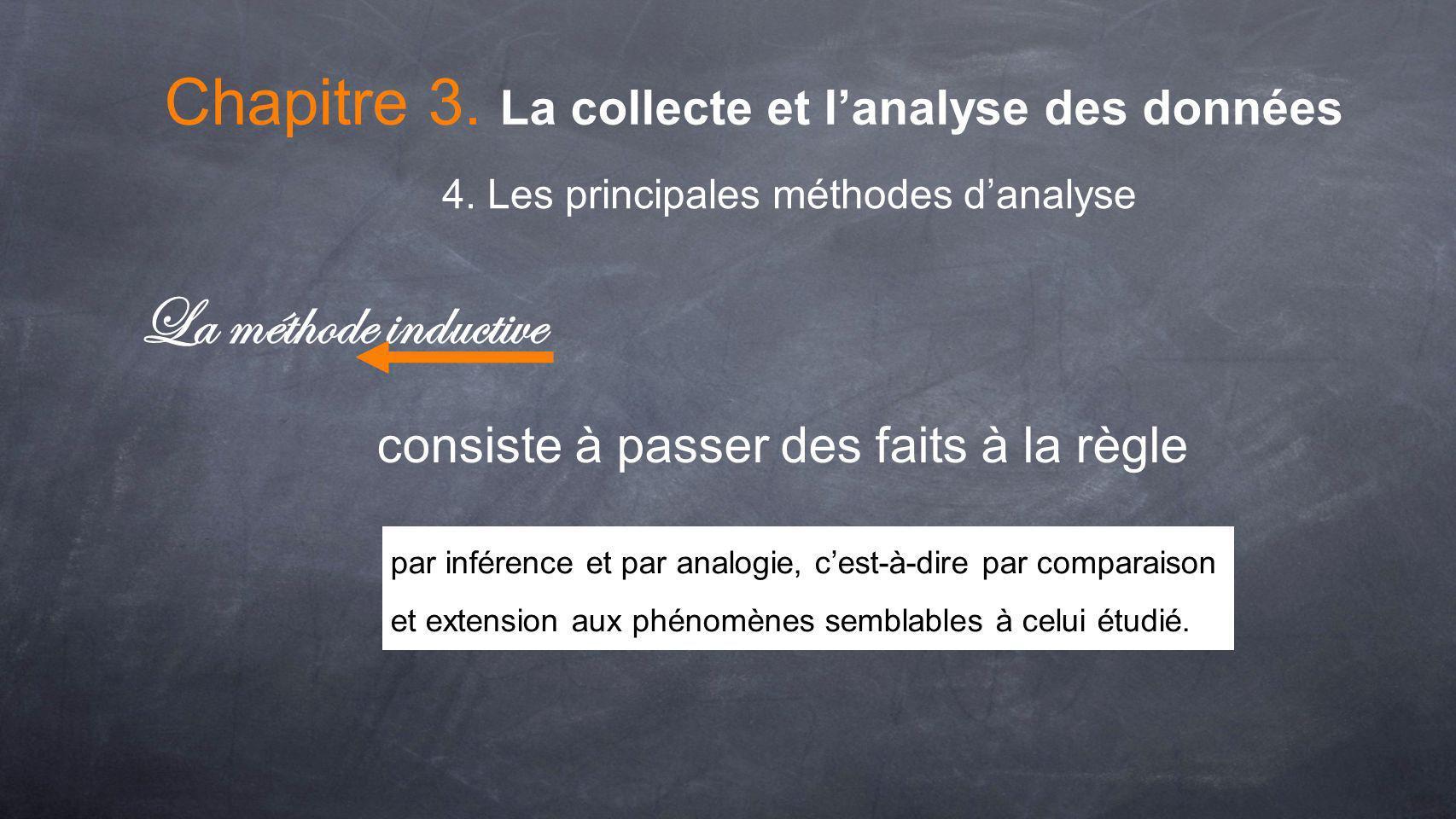 Chapitre 3. La collecte et lanalyse des données 4. Les principales méthodes danalyse La méthode inductive consiste à passer des faits à la règle par i