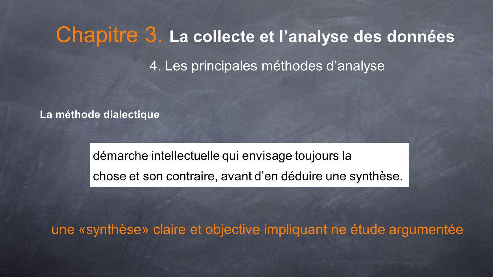 Chapitre 3. La collecte et lanalyse des données 4. Les principales méthodes danalyse La méthode dialectique démarche intellectuelle qui envisage toujo