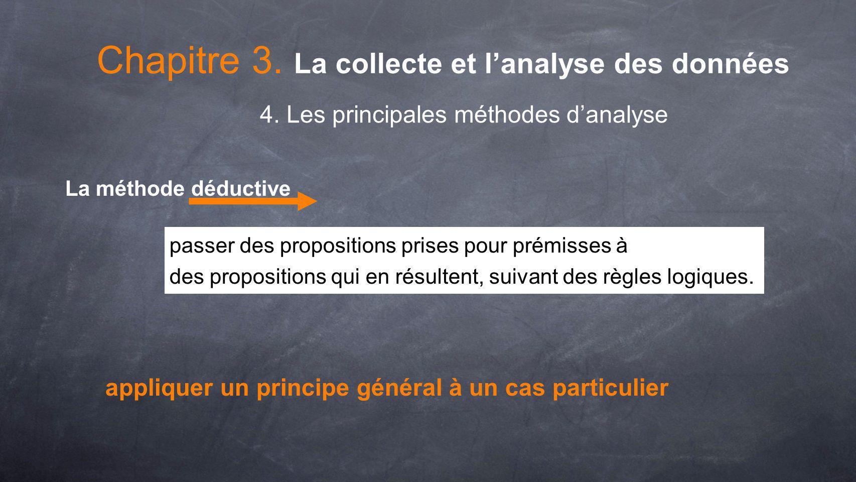 Chapitre 3. La collecte et lanalyse des données 4. Les principales méthodes danalyse La méthode déductive passer des propositions prises pour prémisse