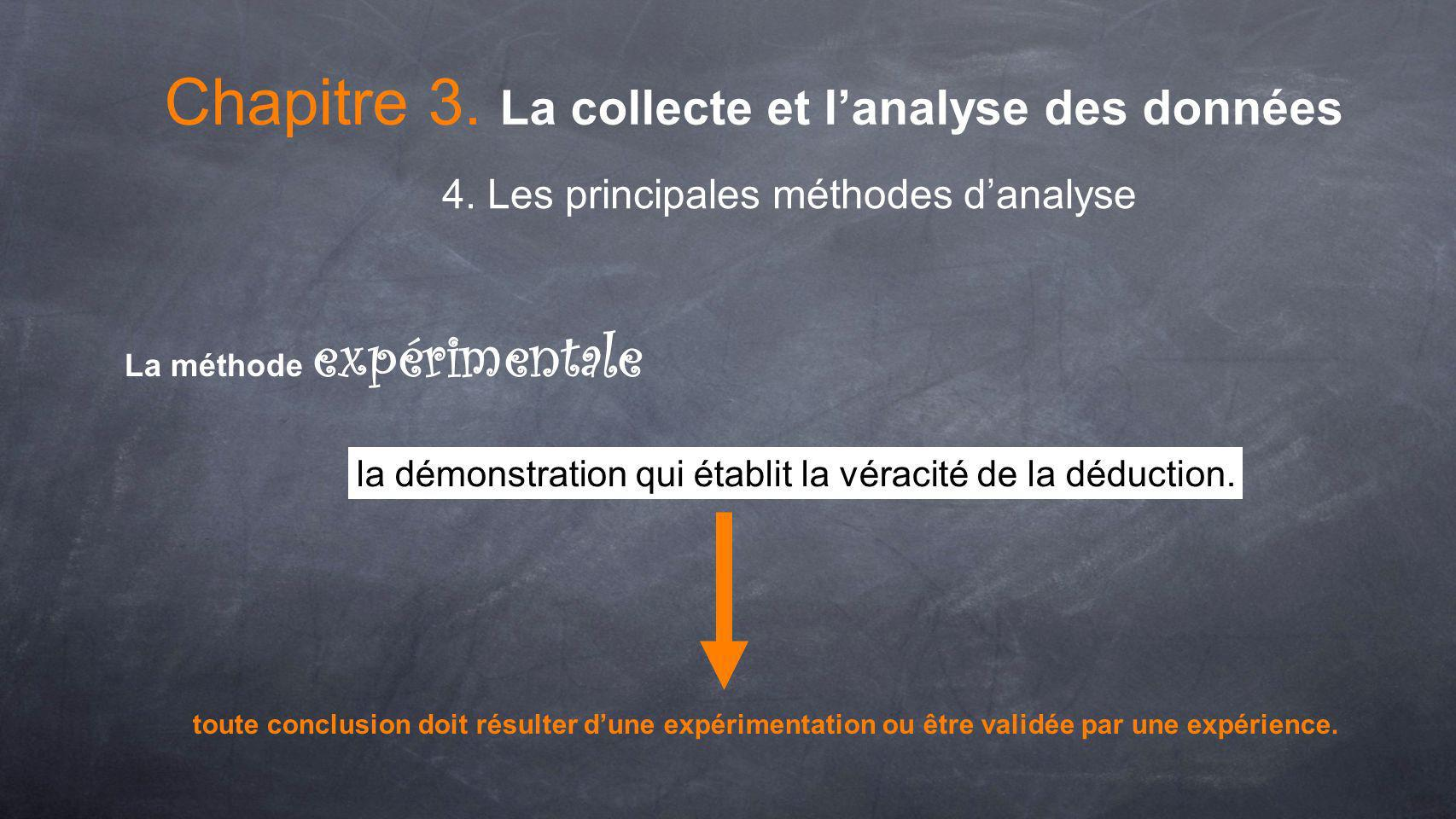 Chapitre 3. La collecte et lanalyse des données 4. Les principales méthodes danalyse La méthode expérimentale la démonstration qui établit la véracité
