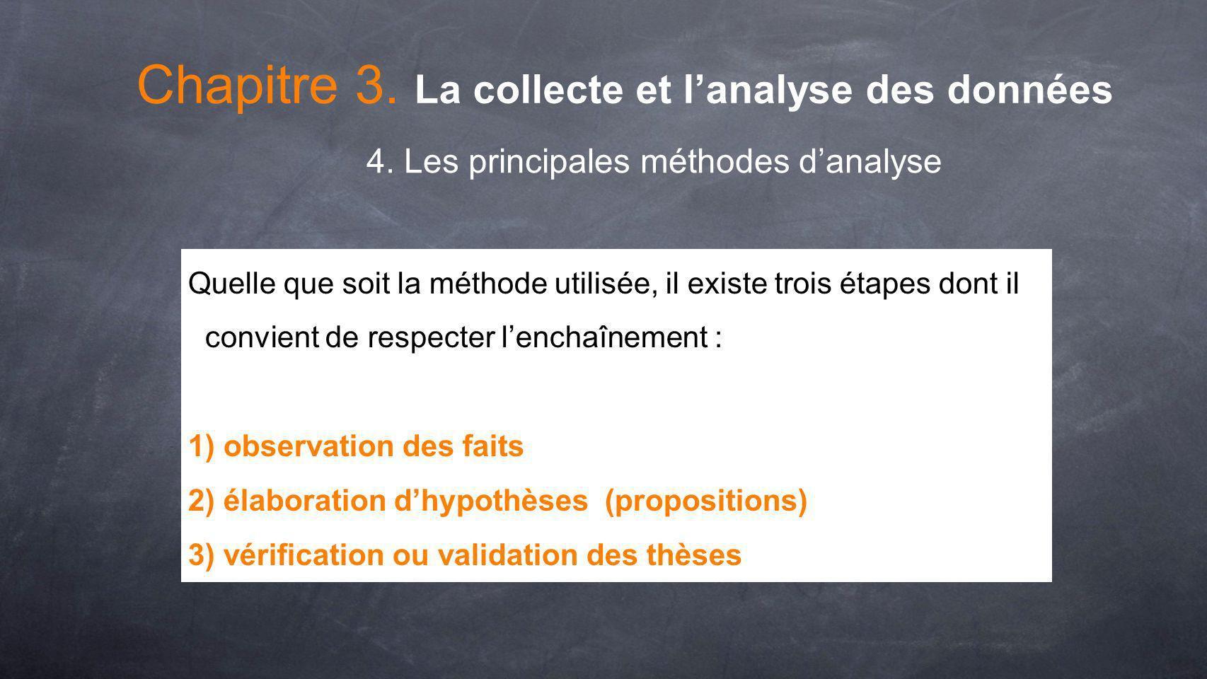 Chapitre 3. La collecte et lanalyse des données 4. Les principales méthodes danalyse Quelle que soit la méthode utilisée, il existe trois étapes dont