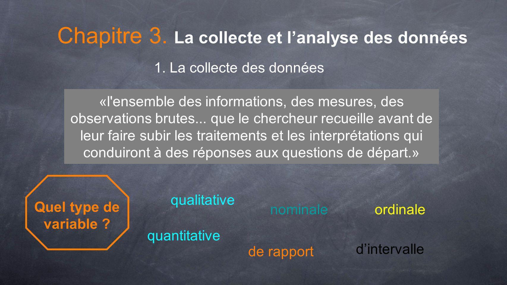 Chapitre 3. La collecte et lanalyse des données 1. La collecte des données Quel type de variable ? quantitative qualitative nominaleordinale «l'ensemb