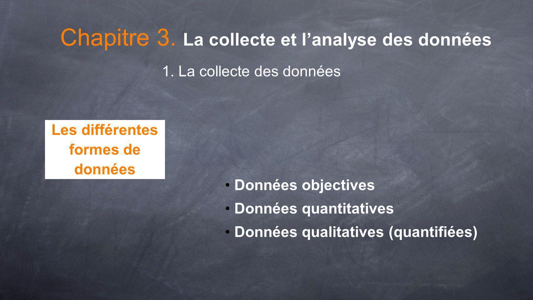 Données objectives Données quantitatives Données qualitatives (quantifiées) Chapitre 3. La collecte et lanalyse des données Les différentes formes de