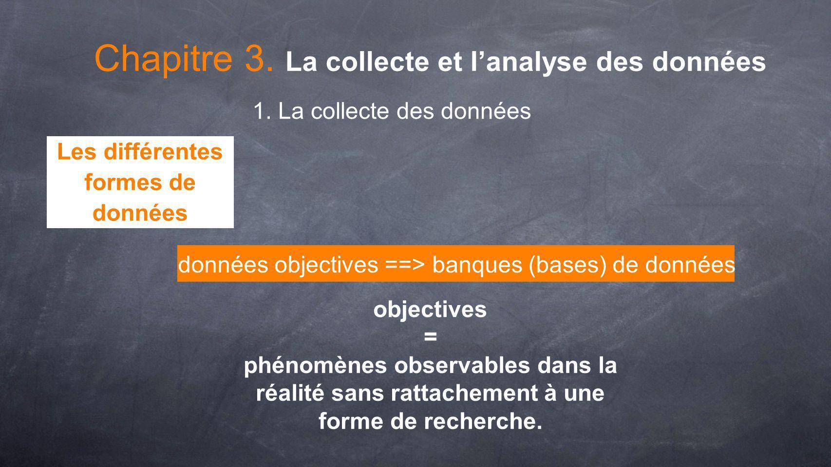 données objectives ==> banques (bases) de données objectives = phénomènes observables dans la réalité sans rattachement à une forme de recherche. Chap