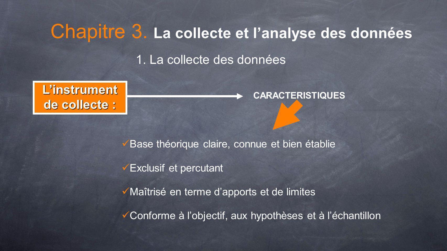 Linstrument de collecte : Fidélité.:… constance Fiabilité.:…contenance CONDITIONS Dans linstrument De contenu Interne Externe Chapitre 3.