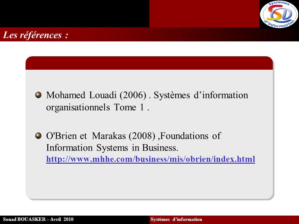 La progression des rôles des SI Souad BOUASKER – Avril 2010 Systèmes dinformation Au début 1960 : lapparition des bases de données Au début 1970 : les systèmes de traitements de transactions et les applications traditionnelles de comptabilité.