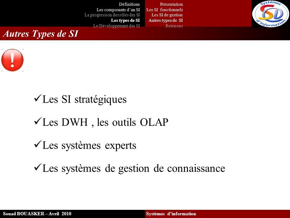Autres Types de SI Les SI stratégiques Les DWH, les outils OLAP Les systèmes experts Les systèmes de gestion de connaissance Souad BOUASKER – Avril 20