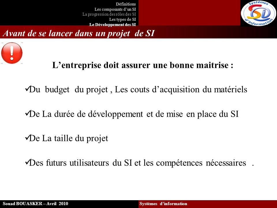 Avant de se lancer dans un projet de SI Lentreprise doit assurer une bonne maitrise : Du budget du projet, Les couts dacquisition du matériels De La d