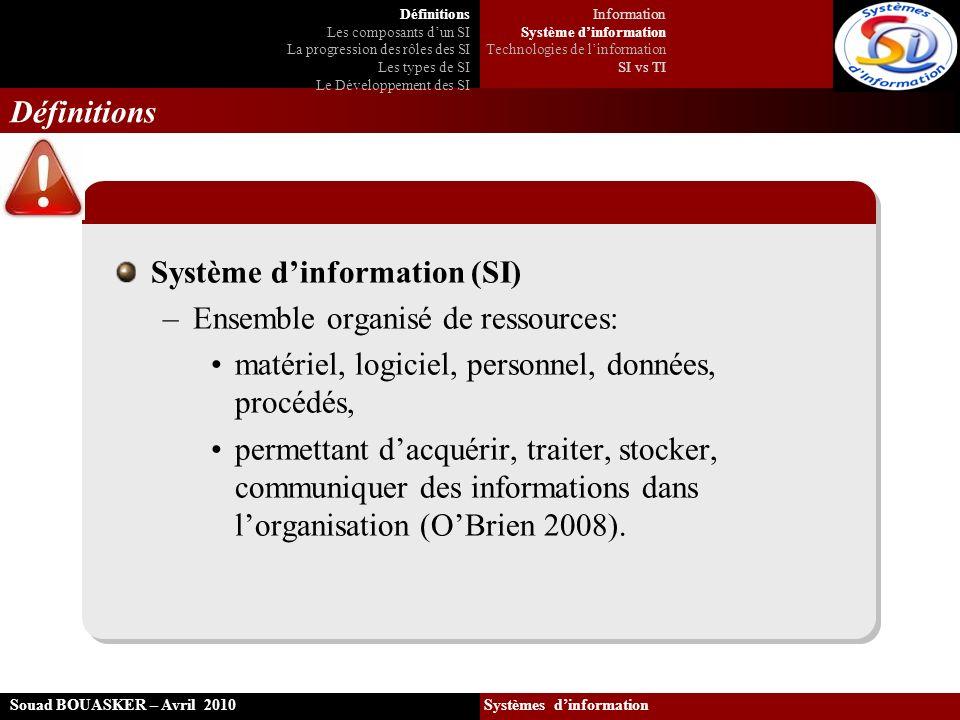 Souad BOUASKER – Avril 2010 Systèmes dinformation Définitions Système dinformation (SI) –Ensemble organisé de ressources: matériel, logiciel, personne