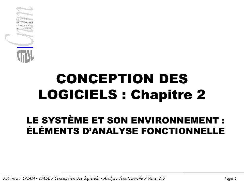 J.Printz / CNAM - CMSL / Conception des logiciels - Analyse fonctionnelle / Vers. 5.3Page 1 CONCEPTION DES LOGICIELS : Chapitre 2 LE SYSTÈME ET SON EN