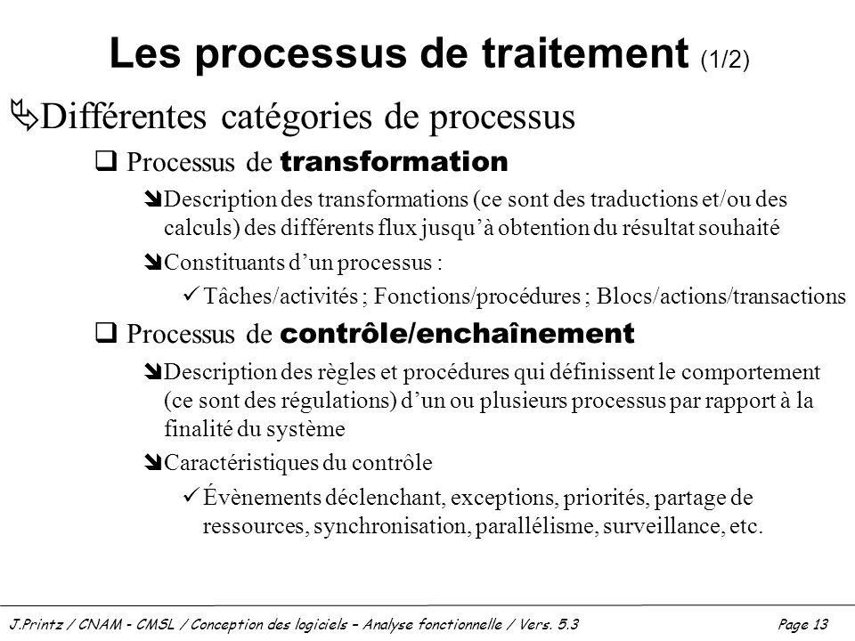 J.Printz / CNAM - CMSL / Conception des logiciels – Analyse fonctionnelle / Vers. 5.3Page 13 Les processus de traitement (1/2) Différentes catégories