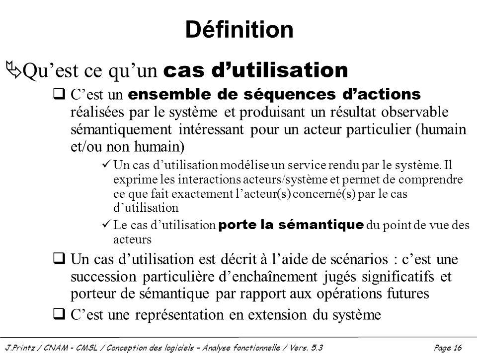 J.Printz / CNAM - CMSL / Conception des logiciels – Analyse fonctionnelle / Vers. 5.3Page 16 Définition Quest ce quun cas dutilisation Cest un ensembl