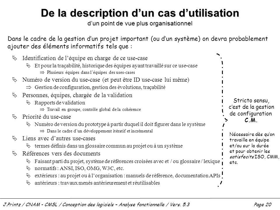 J.Printz / CNAM - CMSL / Conception des logiciels – Analyse fonctionnelle / Vers. 5.3Page 20 De la description dun cas dutilisation dun point de vue p