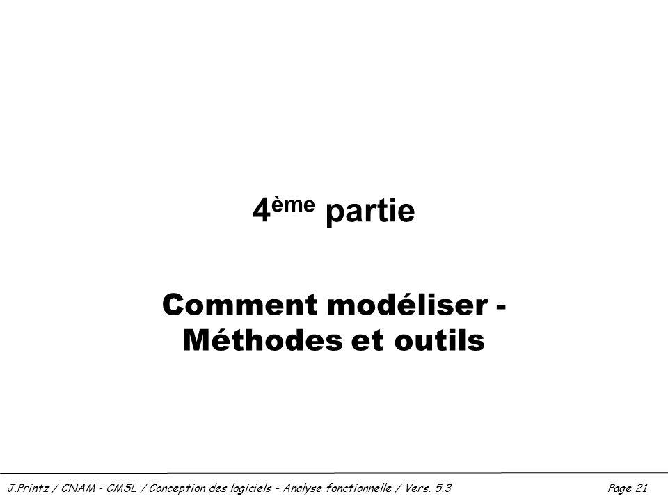 J.Printz / CNAM - CMSL / Conception des logiciels - Analyse fonctionnelle / Vers. 5.3Page 21 4 ème partie Comment modéliser - Méthodes et outils
