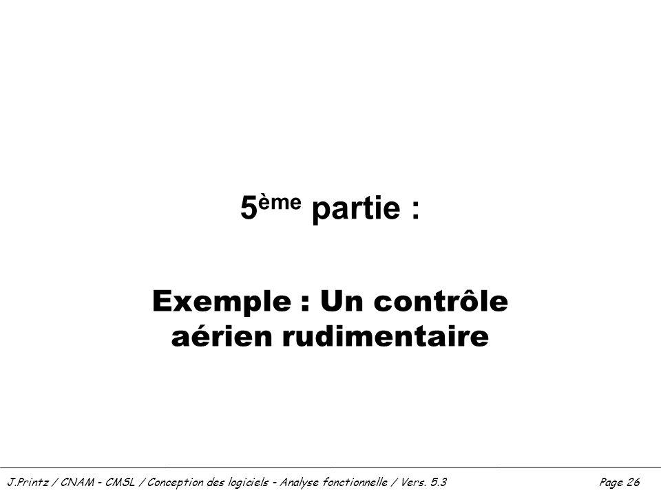 J.Printz / CNAM - CMSL / Conception des logiciels - Analyse fonctionnelle / Vers. 5.3Page 26 5 ème partie : Exemple : Un contrôle aérien rudimentaire