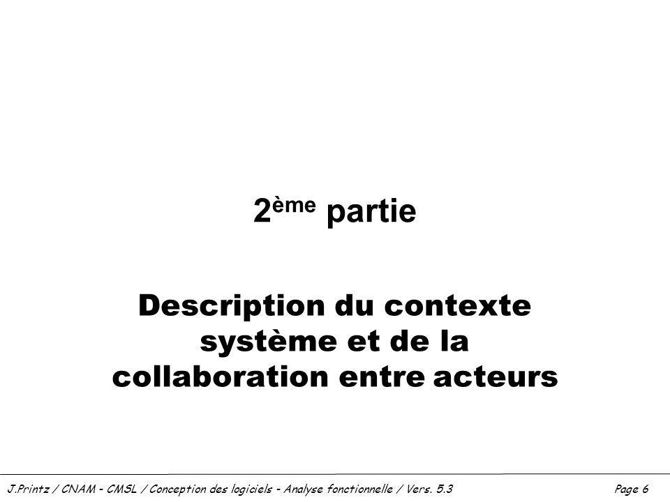 J.Printz / CNAM - CMSL / Conception des logiciels - Analyse fonctionnelle / Vers. 5.3Page 6 2 ème partie Description du contexte système et de la coll
