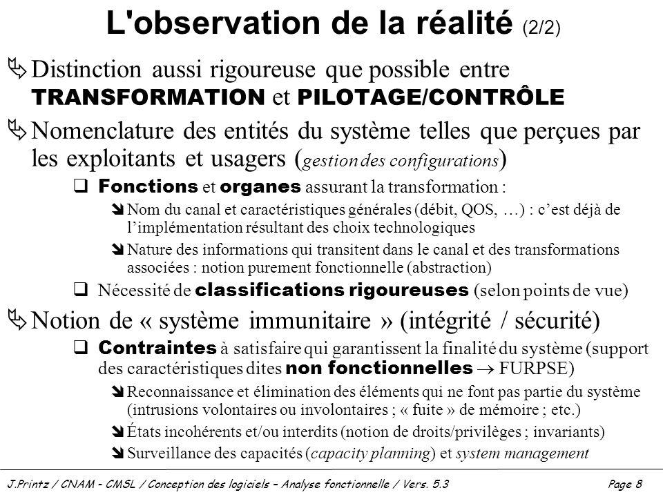 J.Printz / CNAM - CMSL / Conception des logiciels – Analyse fonctionnelle / Vers. 5.3Page 8 L'observation de la réalité (2/2) Distinction aussi rigour