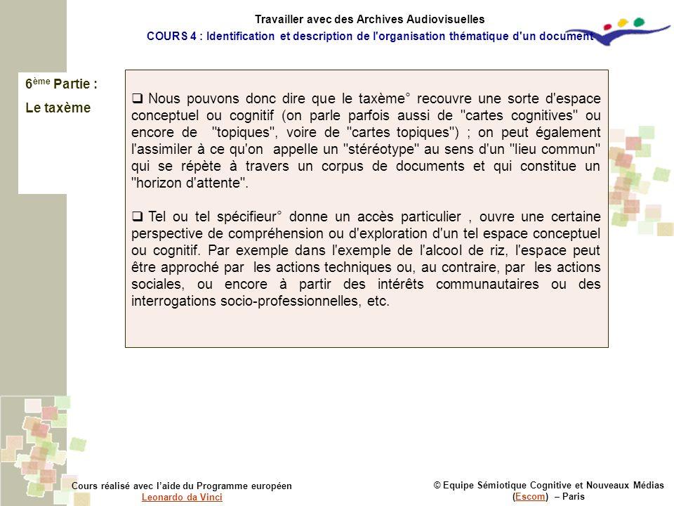 6 ème Partie : Le taxème © Equipe Sémiotique Cognitive et Nouveaux Médias (Escom) – ParisEscom Cours réalisé avec laide du Programme européen Leonardo
