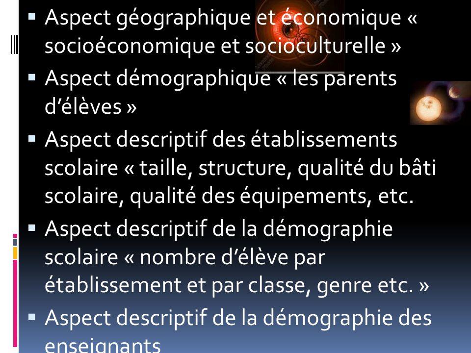 Aspect géographique et économique « socioéconomique et socioculturelle » Aspect démographique « les parents délèves » Aspect descriptif des établissem
