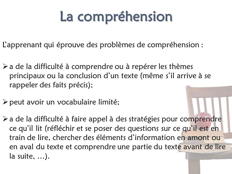 La compréhension Lapprenant qui éprouve des problèmes de compréhension : a de la difficulté à comprendre ou à repérer les thèmes principaux ou la conc