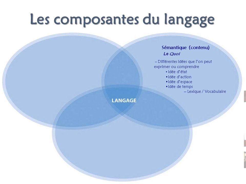 Les composantes du langage Le Quoi – Différentes idées que lon peut exprimer ou comprendre idée détat idée daction idée despace idée de temps Sémantiq