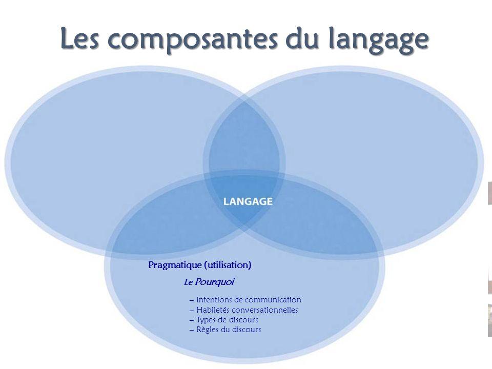Les composantes du langage Le Pourquoi – Intentions de communication – Habiletés conversationnelles – Types de discours – Règles du discours Pragmatiq