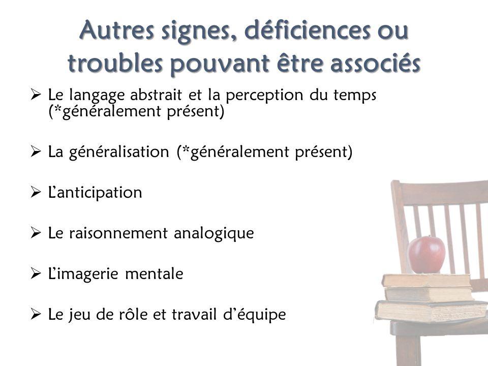 Autres signes, déficiences ou troubles pouvant être associés Le langage abstrait et la perception du temps (*généralement présent) La généralisation (