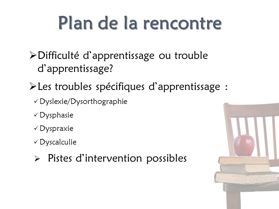 Plan de la rencontre Difficulté dapprentissage ou trouble dapprentissage? Les troubles spécifiques dapprentissage : Dyslexie/Dysorthographie Dysphasie