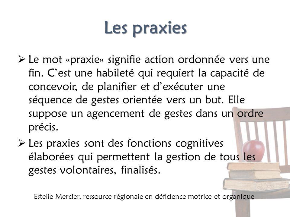 Les praxies Le mot «praxie» signifie action ordonnée vers une fin. Cest une habileté qui requiert la capacité de concevoir, de planifier et dexécuter