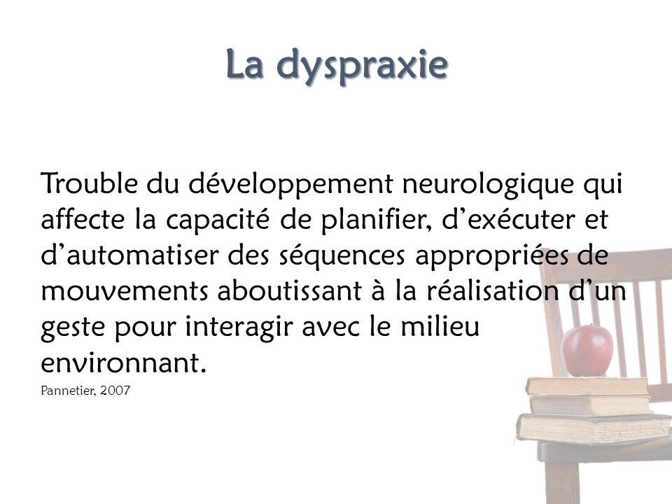 La dyspraxie Trouble du développement neurologique qui affecte la capacité de planifier, dexécuter et dautomatiser des séquences appropriées de mouvem